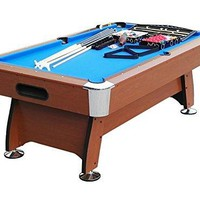 By PoolCentral 7' x 3.98' Brown and Blue Deluxe Billiard Pool and Snooker Game Table