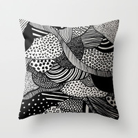 Black and White  Throw Pillow by Urban Exclaim