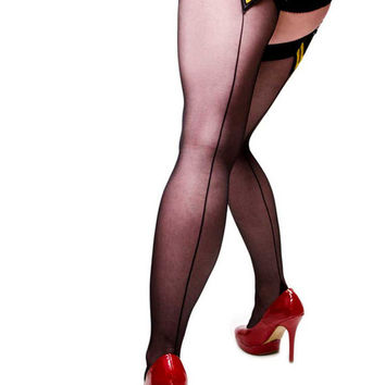 Black Seamed Stockings - Thigh Highs - With Military Stripes