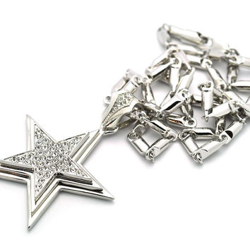 Small Iced Out Silvertone 3D Star Pendant with a 24 Inch Box Chain Necklace