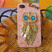 iPhone 4 4S Hard Case Cover With golden Cute Owl For Apple iPhone 4,4S ,iPhone 4 Case, iPhone 4S Case, iPhone 4GS Hard Case  -037