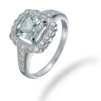 Vir Jewels Sterling Silver Green Amethyst Ring (0.90 CT) In Size 7