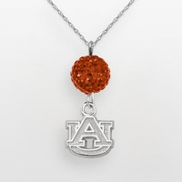 Auburn Tigers Sterling Silver Crystal Logo Y Necklace (Orange)