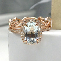 Diamond Wedding Ring Sets!Aquamarine Engagement Ring 14K Rose Gold,7x9mm Oval Cut Blue Aquamarine,Art Deco Floral Stackable Matching Band