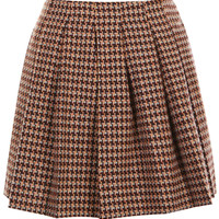 ROMWE | ROMWE Houndstooth Print Pleated Brown Skirt, The Latest Street Fashion