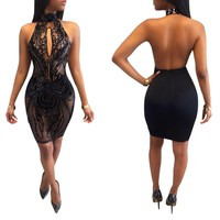 Backless Black Sequins Party Dress