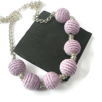 Jewelry Necklace Chenille Purple Lavender  Lilac fabric beads Silver chunky Chain Jewellery  statement piece everyday necaklace