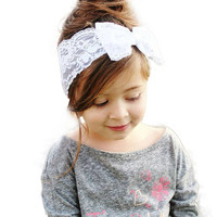 Handmade Lace Bow Headband For Baby Girls Fashion Lace Hairband With Hair Bow Kids Boutique Hair Accessories
