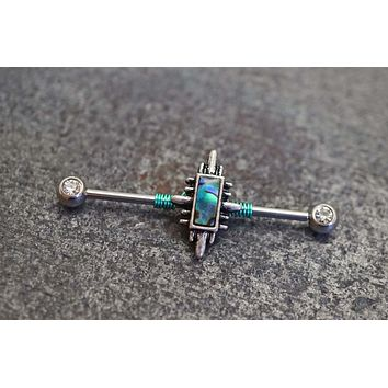 14g 16g Abalone Shell Industrial Barbell