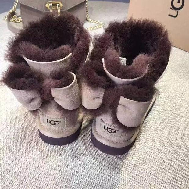 """Image of """"UGG"""" Fashion Winter Women Bowknot Flat Warm Snow Ankle Boots"""