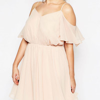 Plus Size Pink Spaghetti Strap Cut out Shoulder Backless A-Line Dress