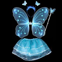 4Pcs Fairy Princess Butterfly Party Costume Wings Wand Headband Tutu Skirt