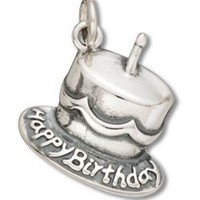 Sterling Silver Happy Birthday Cake with Candle Charm Pendant (16 x 15 mm)