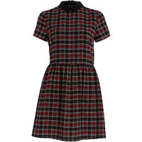 River Island Womens Red plaid collared skater dress