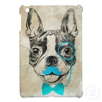Vintage Dog Drawing With Blue Funny Mustache iPad Mini Cases from Zazzle.com