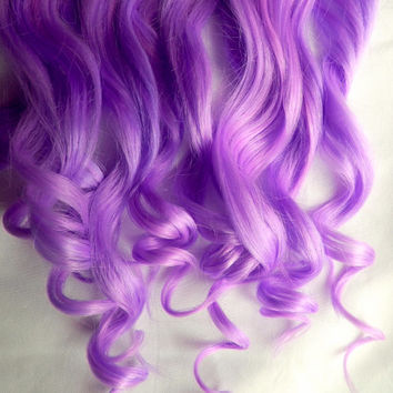 VIOLET PURPLE 100% Human Hair Extensions : Clip In Hair Extensions, Purple Hair Extensions, Ombre Hair, Pastel Hair Extensions