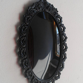 Black Convex Scrying Mirror in Vintage Oval Frame 8 by 5 inches