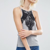 ASOS Cami In Lace And Rib