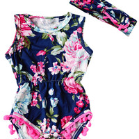 Adorable Baby Girls Floral Rompers