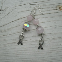 Hope Cancer Ribbon Earrings - these are a light pink  breast cancer awareness, cancer support jewelry, hope ribbon charm jewelry, handmade