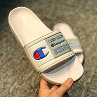 Champion Fashion Women Men Leisure Flats Sandals Slippers Shoes White