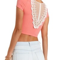 Lace-Back Cotton Crop Top by Charlotte Russe