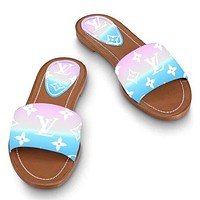 LV Slippers Louis Vuitton Sandals Big Logo Prinrt Gradient Colorful Shoes Sky Blue Ligh Pink