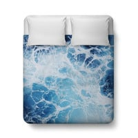 Blue Ocean Surf 3 - Duvet Cover, Coastal Decor Nautical Bed Cover, Bedroom Throw Cover Duvet Bedding Accent. In Twin Full Queen King Size