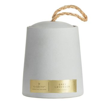 Grey Lavender Ceramic Candle