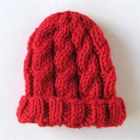 Newborn Baby Hat Hand Knit Cable Red Beanie Cap Infant Size 0 to 3 Months