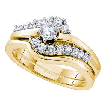 14kt Yellow Gold Womens Round Diamond Swirl Bridal Wedding Engagement Ring Band Set 1/2 Cttw