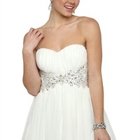 Strapless Sweetheart Dress with Stone Waist and Carefree Skirt