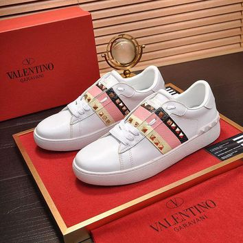 DCCK Valentino Men's Leather ROCKSTUD Sneakers Shoes