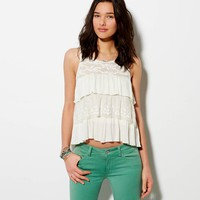 AE CROPPED TIERED TANK
