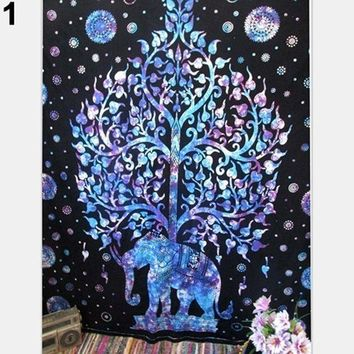 CREYU3C Bohemian Hippie Elephant Printed Tapestry Wall Hanging Decoration Beach Mat 09WG