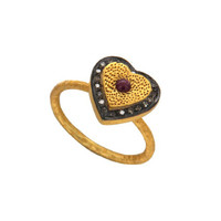 18K Gold Over Sterling Silver Ruby Pave Diamond Hammered Band Heart Ring