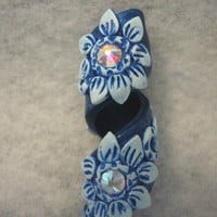 Dreads Bead Coil  with Austrian Crystals Metallic Blue  You Choose Hole Size