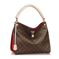 LV Women Shopping Leather Tote Handbag Shoulde Authentic Louis Vuitton Monogram Gaia Shoulder Handbag Article:M41620 Cherry Made in France