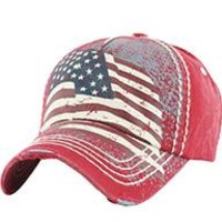 AMERICAN FLAG Red DISTRESSED AND FADED  HAT Old School Baseball CAP