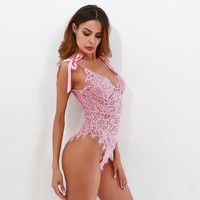 Sexy Lace Rompers Ribbon Tie Shoulder See Though Floral Lace Bodysuit Ladies Sexy Bodysuit Pink Sleeveless V Neck Cute Bodysuit