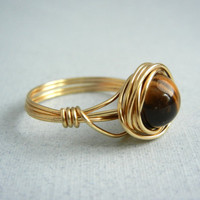 Tigers Eye Ring - Custom Size Ring by threestonebirds