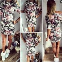 Women's Trending Popular Fashion 2016 Floral Printed Sexy Floral Printed Slim Erotic Casual Party Playsuit Bodycon Boho Dress  _ 3670