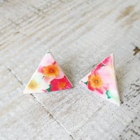 Flowers Collar triangular Brooch  Collar Tips Collar Clips