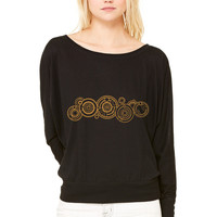 Doctor Who Gallifrey Name WOMEN'S FLOWY LONG SLEEVE OFF SHOULDER TEE
