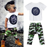 Baby Boy Clothing Set Summer Rock Gesture Tops T-shirt + Army Military Camouflage Pants Outfit Set Children Clothes for Boys