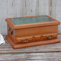 Jewelry Box, Vintage, Wood, Marble, Jewelry Chest