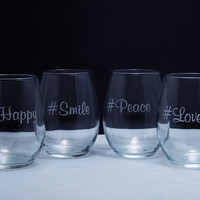 Etched #Feel Good Stemless Wine Glasses, Set of 4