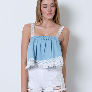 Be Cute Chambray Crop Top - Blue