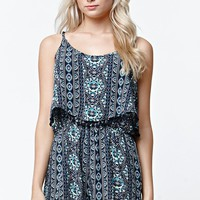 LA Hearts Bobble Trim Overlay Romper - Womens Dress - Blue