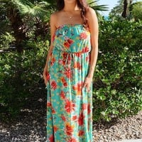 All Mine Green Floral Print Strapless Maxi Dress
